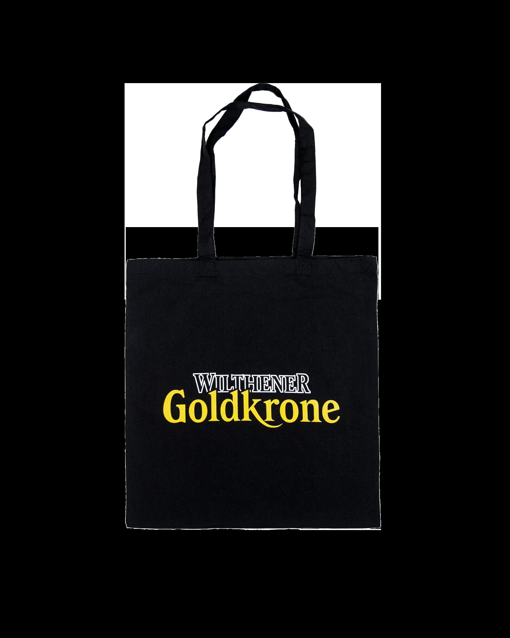 Wilthener Goldkrone Baumwollbeutel schwarz