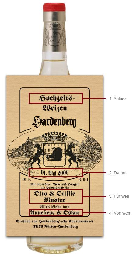 Hardenberg Hochzeitsweizen 3,0l mit individuellem Etikett