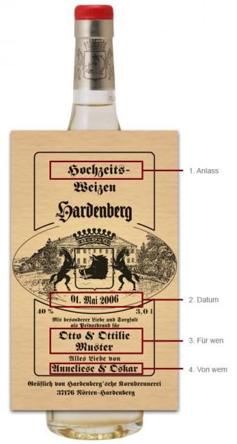 Hardenberg Hochzeitsweizen 0,7l mit individuellem Etikett